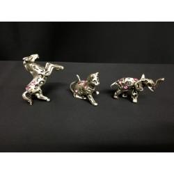 Animali mignon in argento con strass rosa. CM 2-3