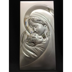 Icona Madonna argento retro legno 18x36