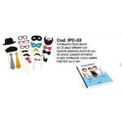 Confezione Photo Booth da 20 pz con bastoncini applicati come da campione in foto.