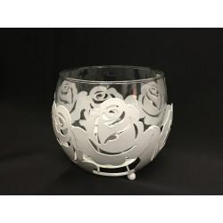 Portacandela vetro con sfera metallo traforo fiori con manico Diam. 12 H 10