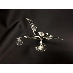 Cicogna in silver con cristalli swarovsky. CM 10x11 H 7