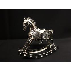 Cavallo a dondolo in silver con cristalli swarovsky. CM 8x3 H 8
