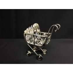 Carrozzina in silver con cristalli swarovsky. CM 6x3 H 6