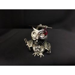 Gufo laureato in silver con cristalli swarovsky. H 5