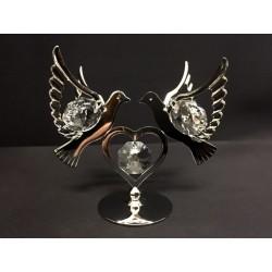 Coppia colombe in silver con cristalli swarovsky. H 7