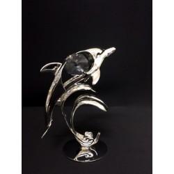 Delfino in silver con cristalli swarovsky. H 7
