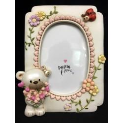 Portafoto resina con orsetto e decori rosa. CM 9x13 (interno)