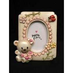 Portafoto resina con orsetto e decori rosa. CM 4x6 (interno)
