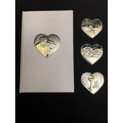 Vangelo con placca argento forma cuore 11x7