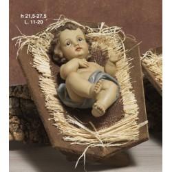 Gesù bambino in resina CM 21.5 con mangiatoia legno CM 28