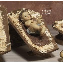 Gesù bambino in resina CM 15 con mangiatoia legno CM 23.5