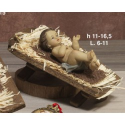 Gesù bambino in resina CM 11 con mangiatoia legno CM 16.5