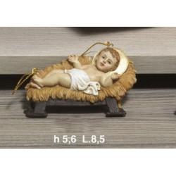 Gesù bambino in resina con mangiatoia resina da appendere CM 8.5