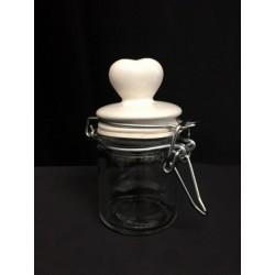 Barattolo vetro con tappo ceramica bianca con cuore. Diam. 4 H 8.5
