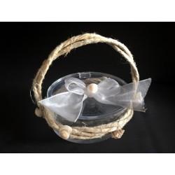 Scatola plexi ovale con applicazione corda, fiocco e conchiglie. CM 7.5x5.5 H 4