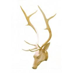 Testa di cervo nobile in legno tiglio