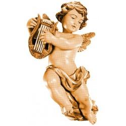 Angelo volante con lira, scultura scolpita in legno