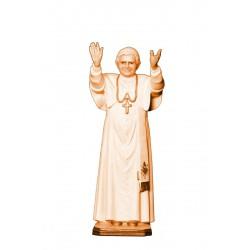 Papa Benedetto Xvi, scultura scolpita di legno