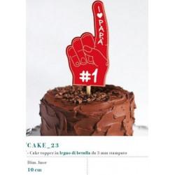 Cake topper in legno di betulla stampato. 3 MM Base CM 10