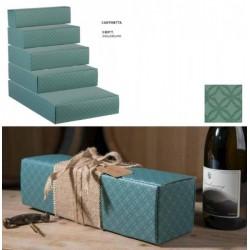 Scatola cartoncino per 3 bottiglie verde eucalipto. CM 34x28 H 9
