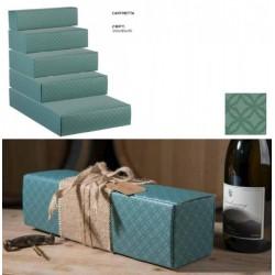 Scatola cartoncino per 2 bottiglie verde eucalipto. CM 34x18.5 H 9