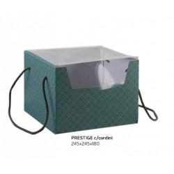 Scatola cartoncino verde eucalipto con manici e coperchio pvc. CM 24.5x24.5 H 18