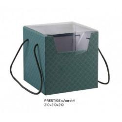 Scatola cartoncino verde eucalipto con manici e coperchio pvc. CM 21x21 H 21