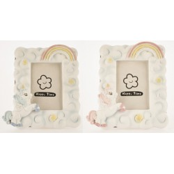 Portafoto resina con unicorno rosa o azzurro. h.11