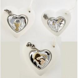Cuore resina da appendere con icona sacra forma cuore silver. CM 5