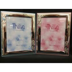 Portafoto argento con gufetti e retro legno rosa o azzurro. CM 13x18