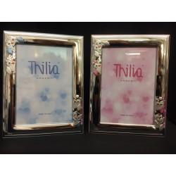 Portafoto argento con gufetti e retro legno rosa o azzurro. CM 9x13
