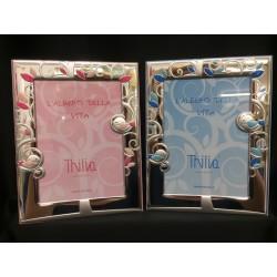 Portafoto argento con albero, uccellini e retro legno rosa o azzurro. CM 13x18