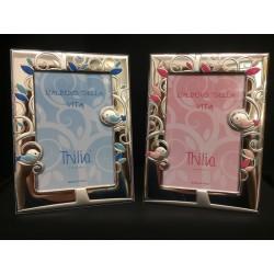Portafoto argento con albero, uccellini e retro legno rosa o azzurro. CM 10x15