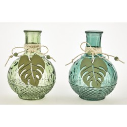 Vasetto vetro verde con applicazione foglia legno. Ass 2. CM 18.5