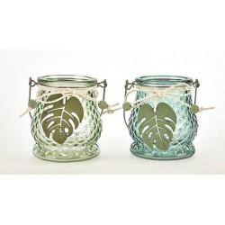 Vasetto vetro verde con applicazione foglia legno. Ass 2. CM 9.5