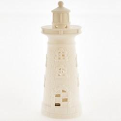 Faro ceramica bianca opaca con luce LED. CM 25 batterie escluse