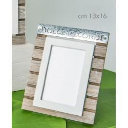 Portafoto verticale legno e metallo con scritta. CM 13x16