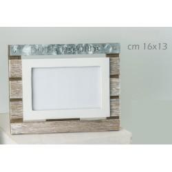 Portafoto orizzontale legno e metallo con scritta. CM 16x13