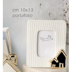 Portafoto ceramica con casetta gold e scatola. CM 10x13