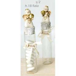 Provetta vetro con angelo resina e fiocco applicato. Ass 2. H 18