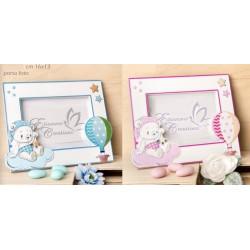 Portafoto con decoro orsetto baby, rosa o azzurro. CM 16x13