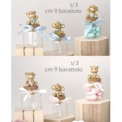 Barattolo vetro con soggetti resina baby, rosa o azzurri. Ass 3. H 10