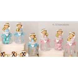 Barattolo plastica con angelo resina baby, rosa o azzurro. Ass 3. H 10