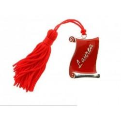 Pergamena rossa zama con nappa. CM 4