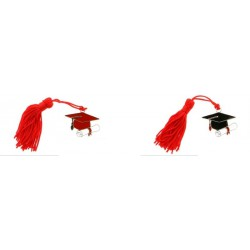 Tocco laurea rosso o nero in zama con nappa. CM 4