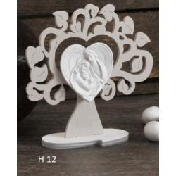 Albero legno con immagine Sacra Famiglia. H 13