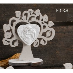 Albero legno con immagine Sacra Famiglia. H 9