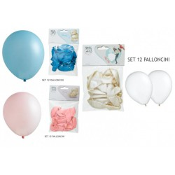 Set 12 palloncini rosa, azzurri o avorio