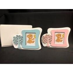 Portafoto legno con immagine albero della vita rosa o azzurro con scatola. Tot CM 11.5x9 - INT CM 5x4