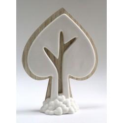 Albero forma cuore in legno e porcellana. CM 15x4 H 21